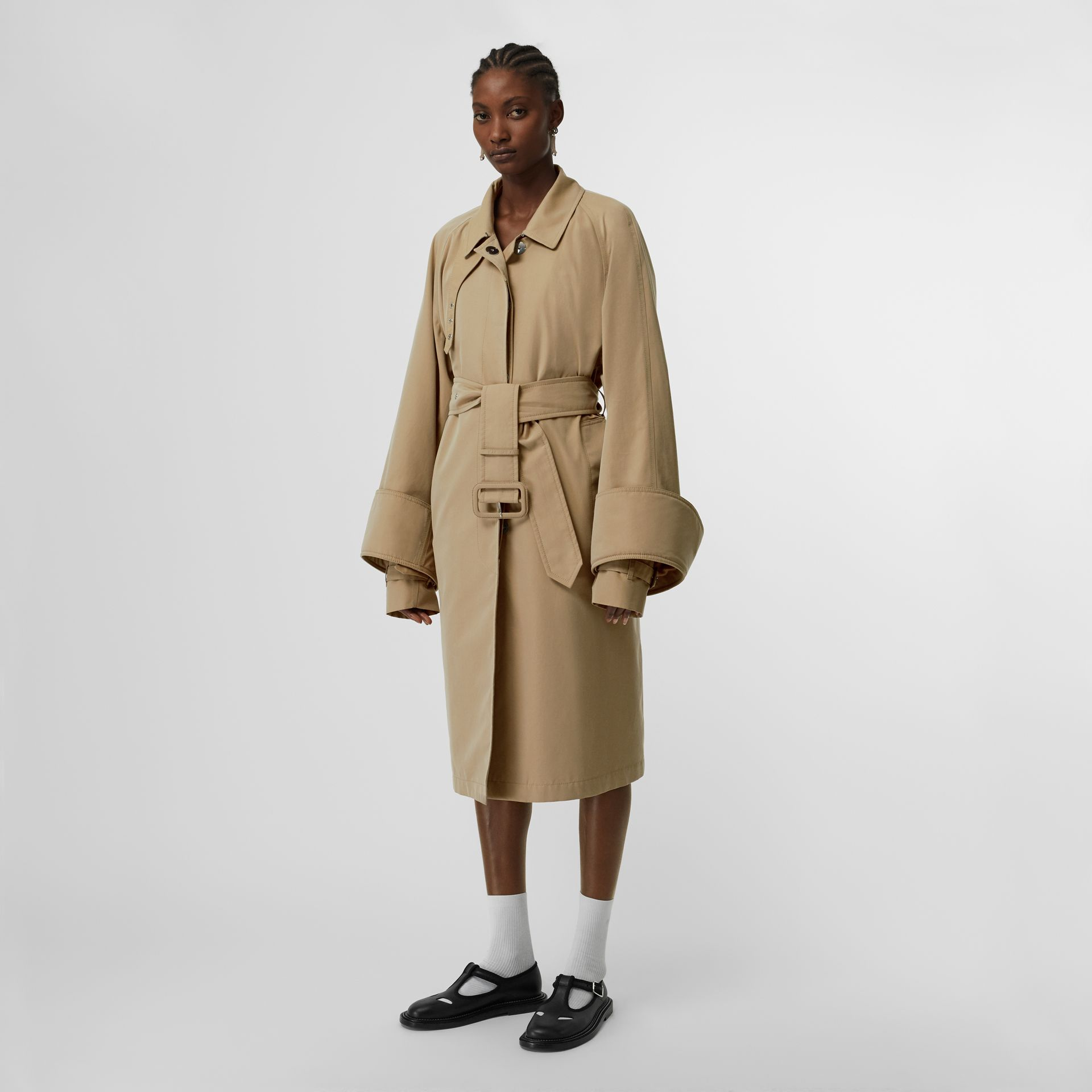 Exaggerated Cuff Cotton Gabardine Car Coat in Pale Honey - Women | Burberry Australia - gallery image 6