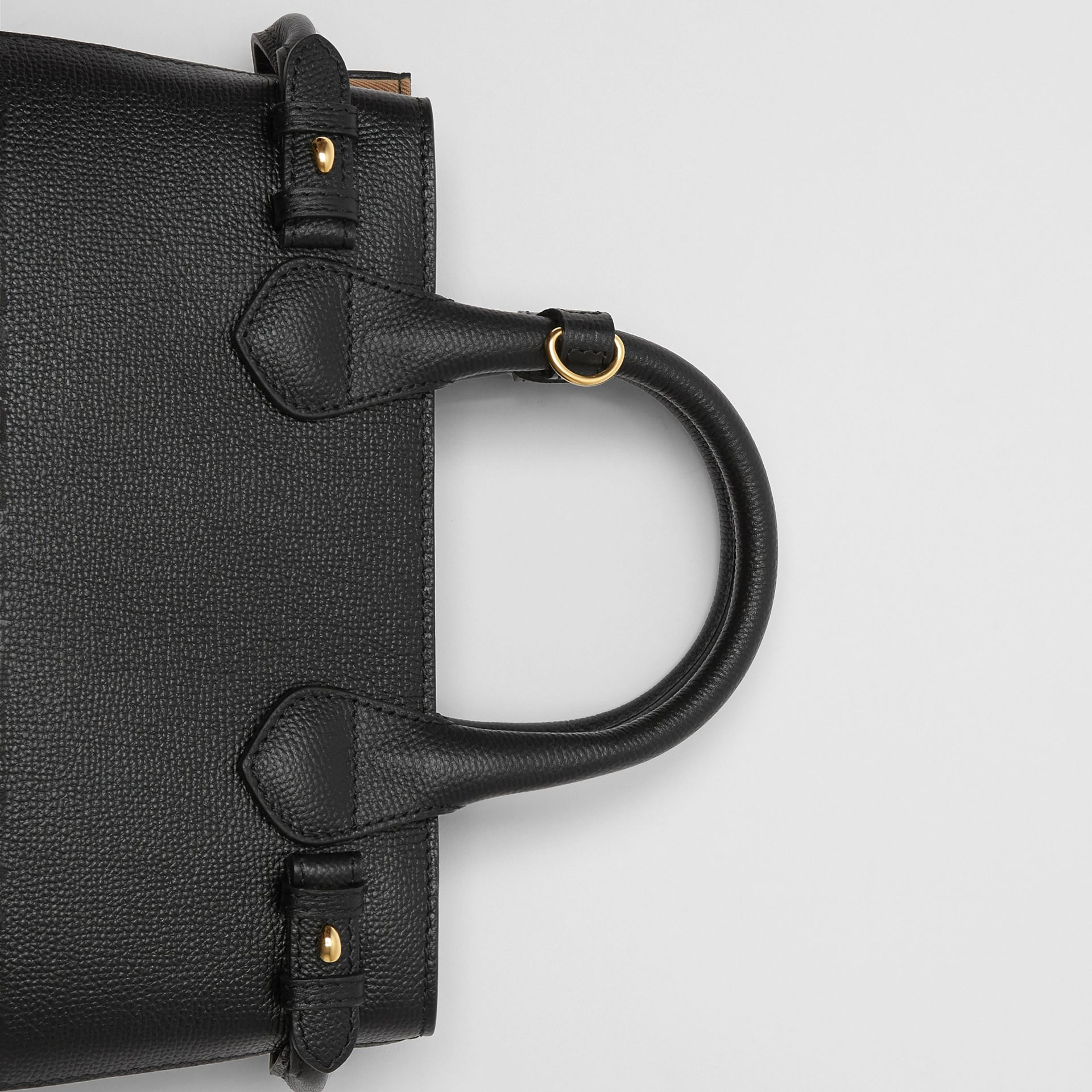 The Small Banner in Leather and House Check in Black - Women | Burberry - gallery image 1