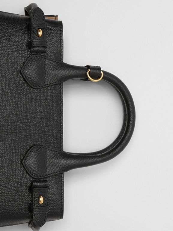 The Small Banner in Leather and House Check in Black - Women | Burberry United States - cell image 1