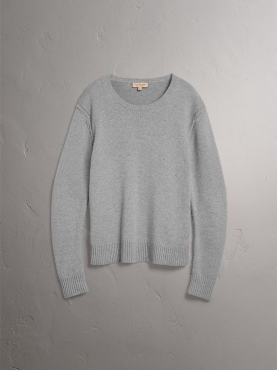 Open-knit Detail Wool Cashmere Sweater in Light Grey Melange - Men | Burberry United States - cell image 3