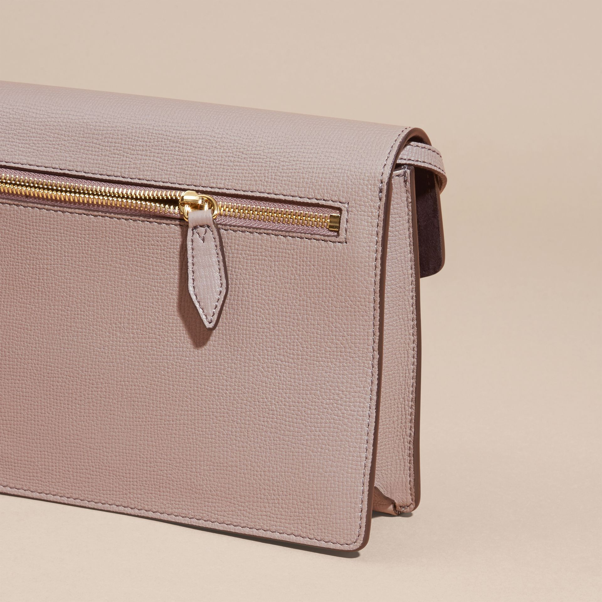 Thistle grey Small Leather and House Check Crossbody Bag Thistle Grey - gallery image 4