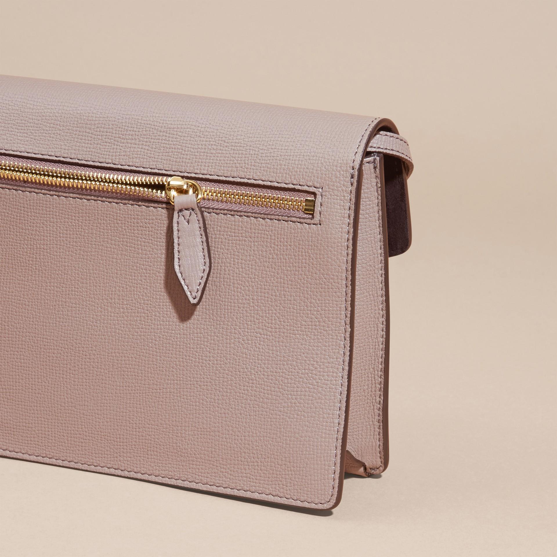 Gris chardon Petit sac à bandoulière en cuir et coton House check Gris Chardon - photo de la galerie 4