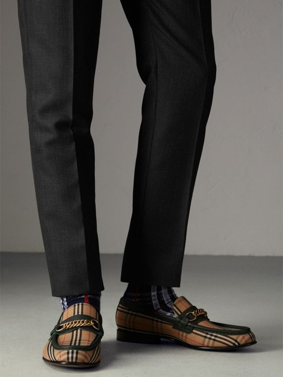 The 1983 Check Link Loafer in Dark Forest Green | Burberry - cell image 2