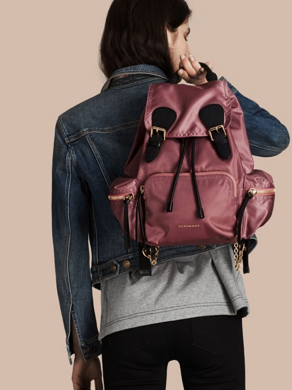 The Medium Rucksack in Technical Nylon and Leather Mauve Pink - cell image 2