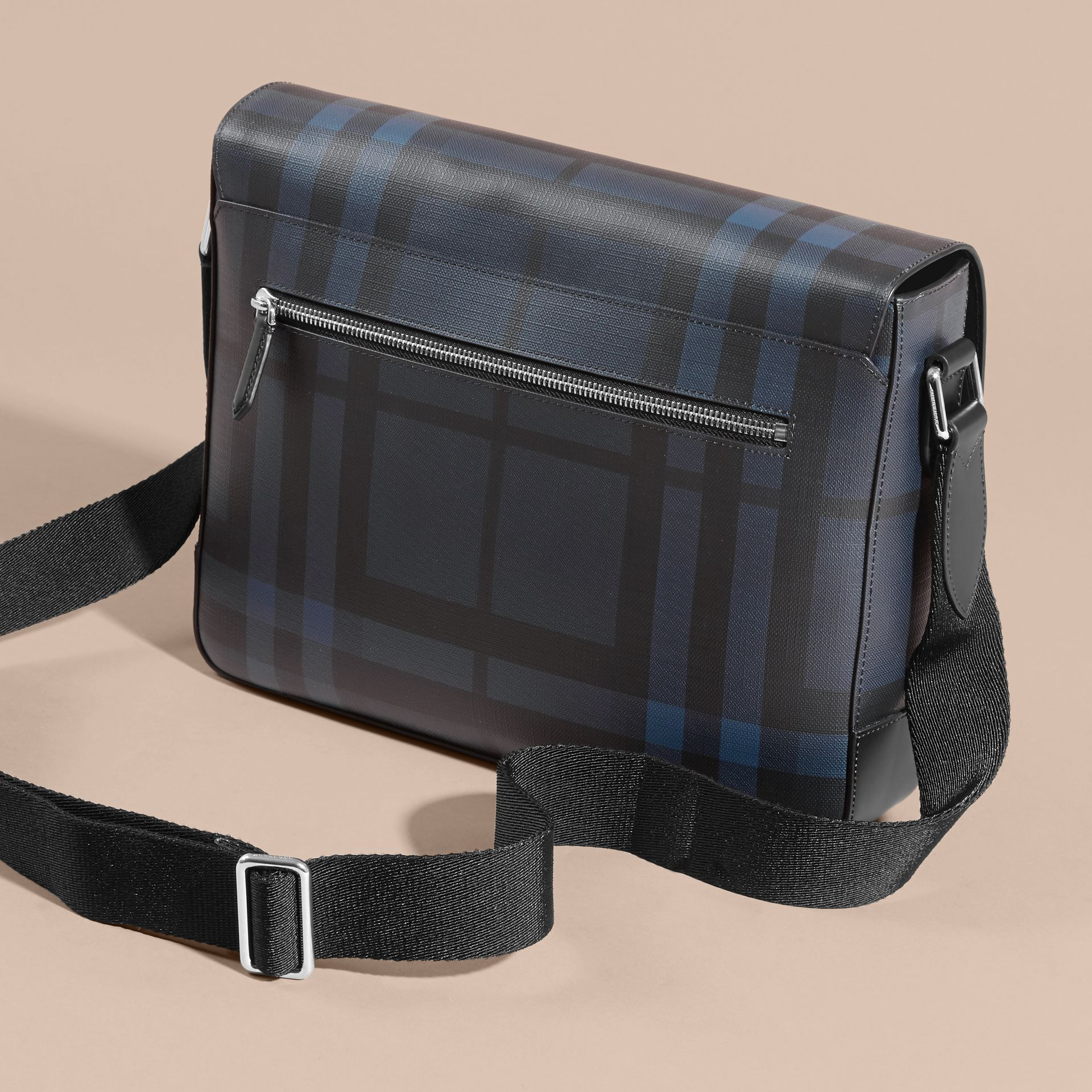 Medium Leather Trim London Check Messenger Bag in Navy/black - gallery image 4