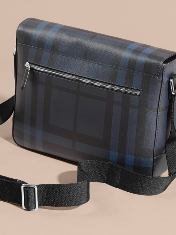 Medium Leather Trim London Check Messenger Bag in Navy/black - cell image 3