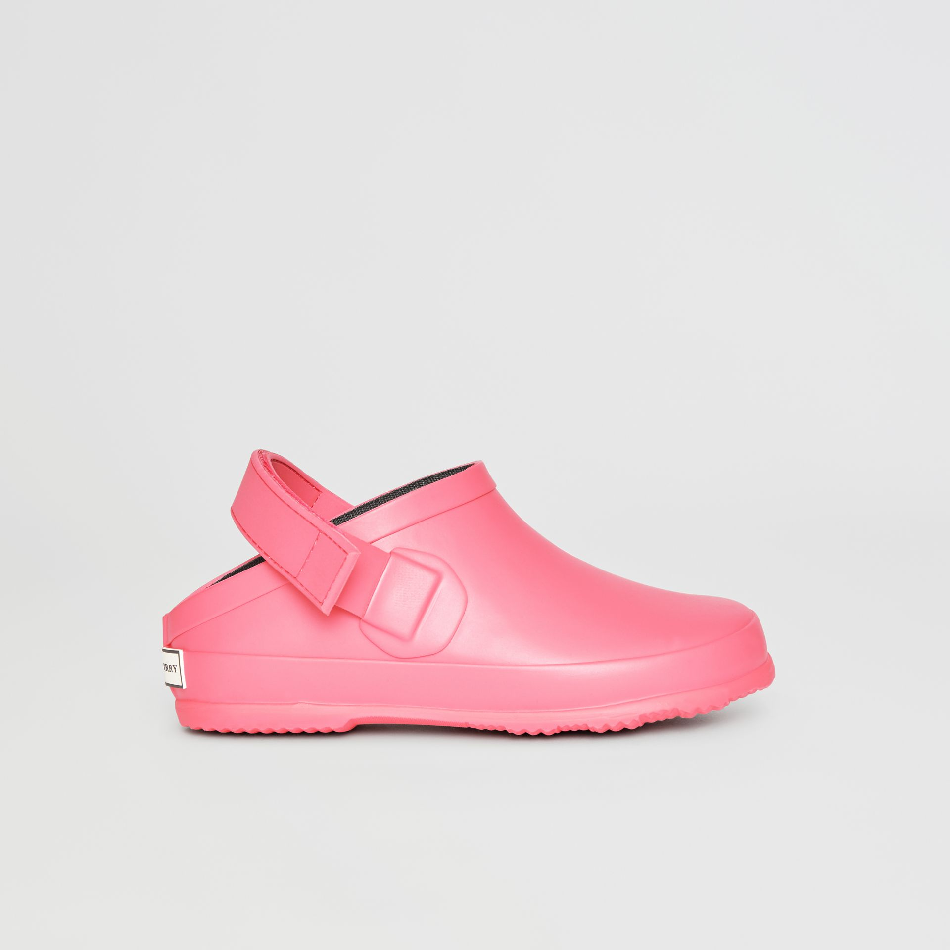 Check Detail Rubber Sandals in Bright Rose - Children | Burberry - gallery image 3