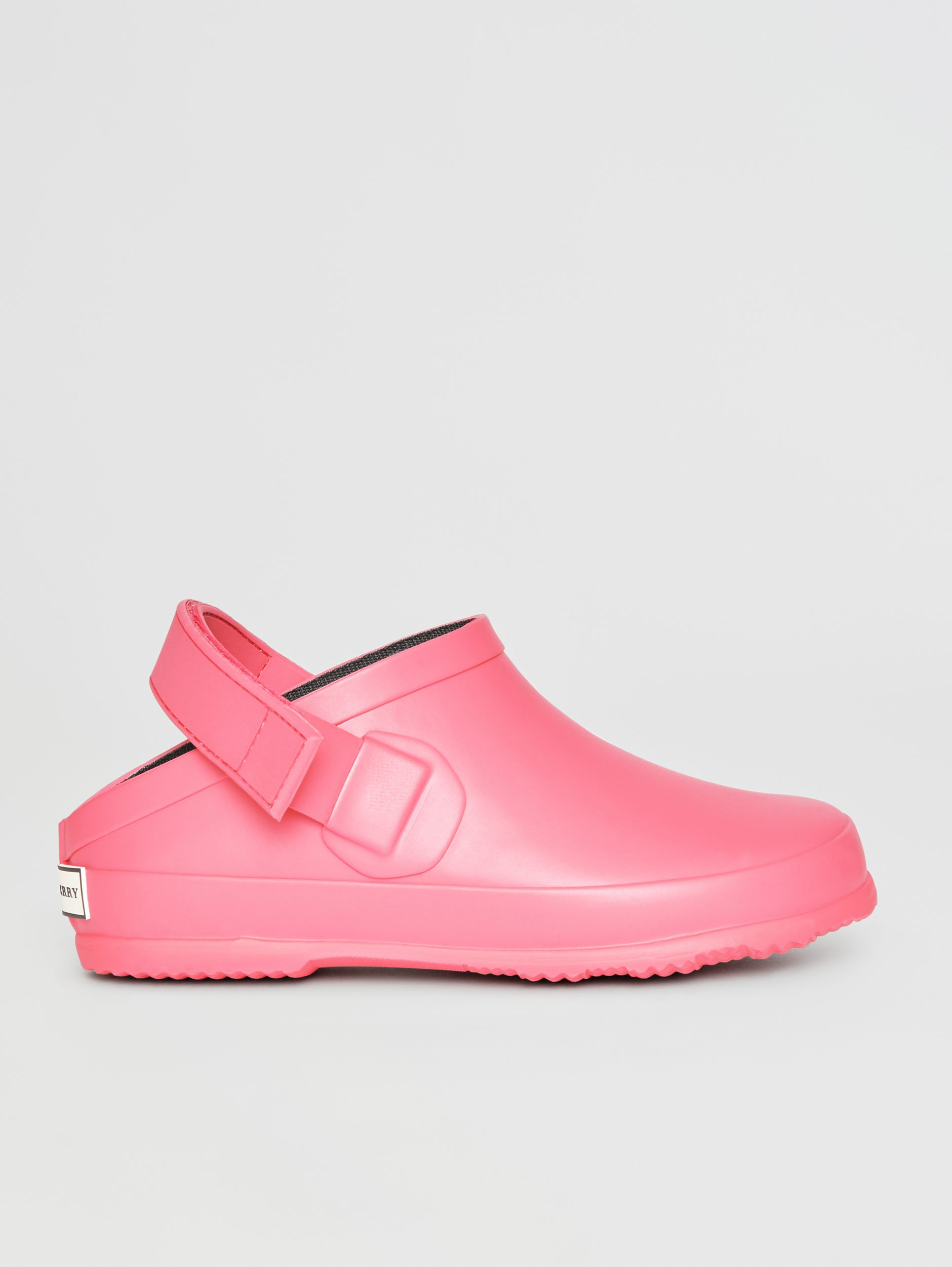Check Detail Rubber Sandals in Bright Rose - Children | Burberry - 4
