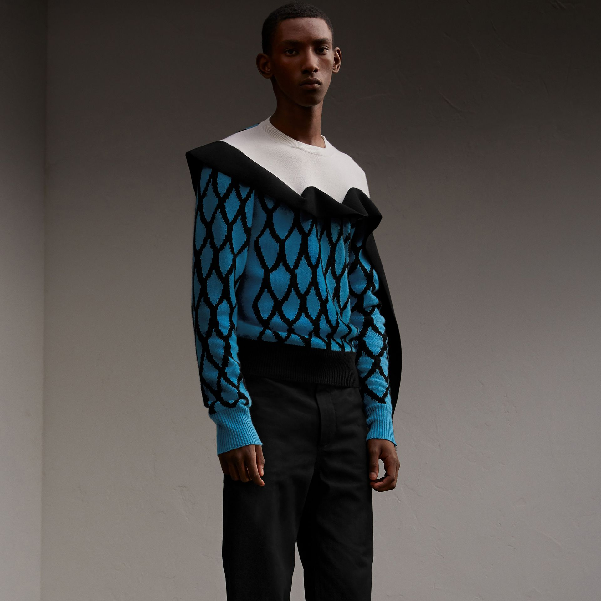 Ruffle Detail Cashmere Intarsia Sweater in Bright Cyan Blue - Men | Burberry - gallery image 1
