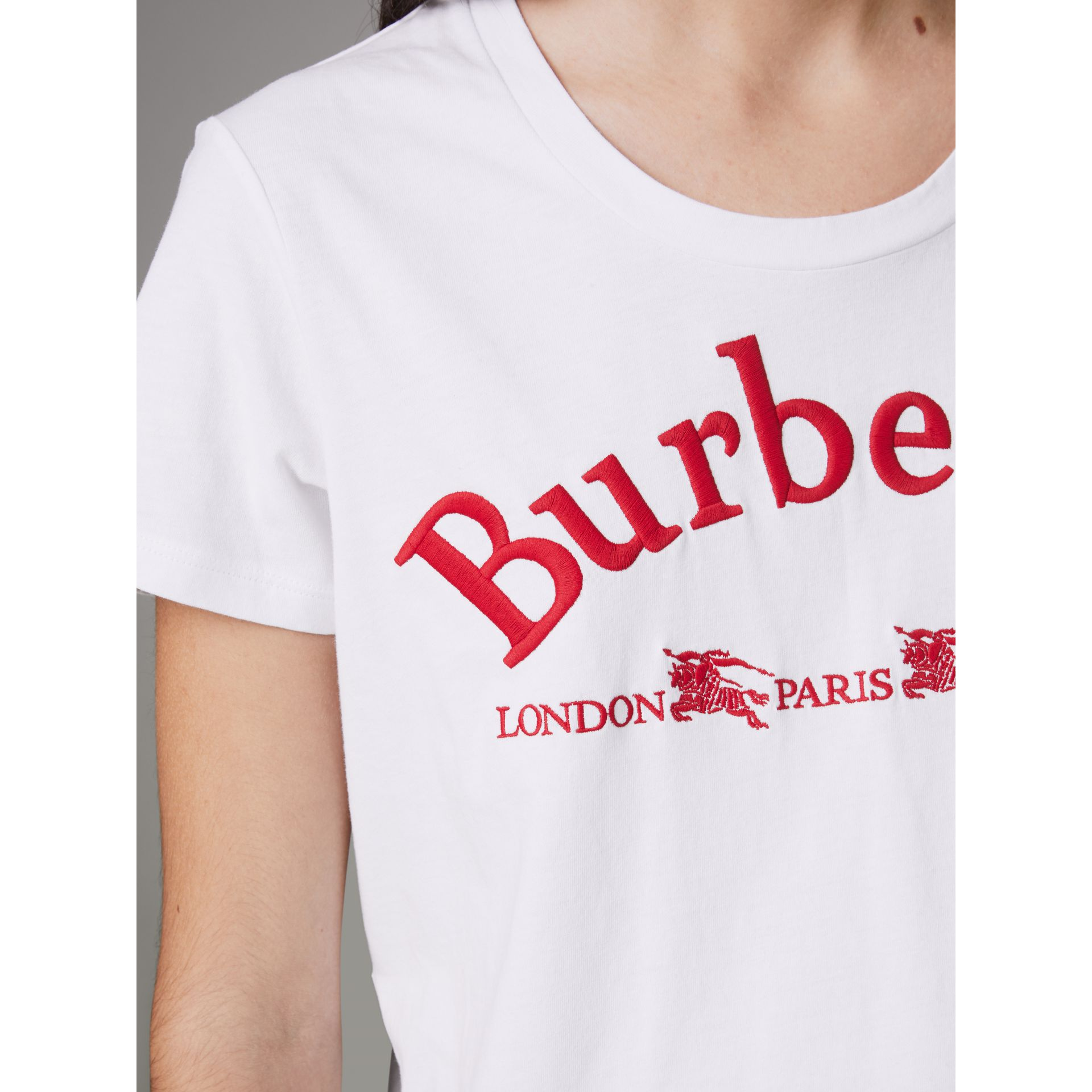 Embroidered Archive Logo Cotton T-shirt in White - Women | Burberry - gallery image 1