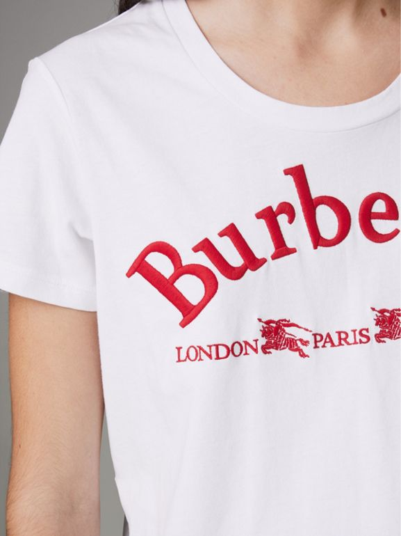 Embroidered Archive Logo Cotton T-shirt in White - Women | Burberry Canada - cell image 1