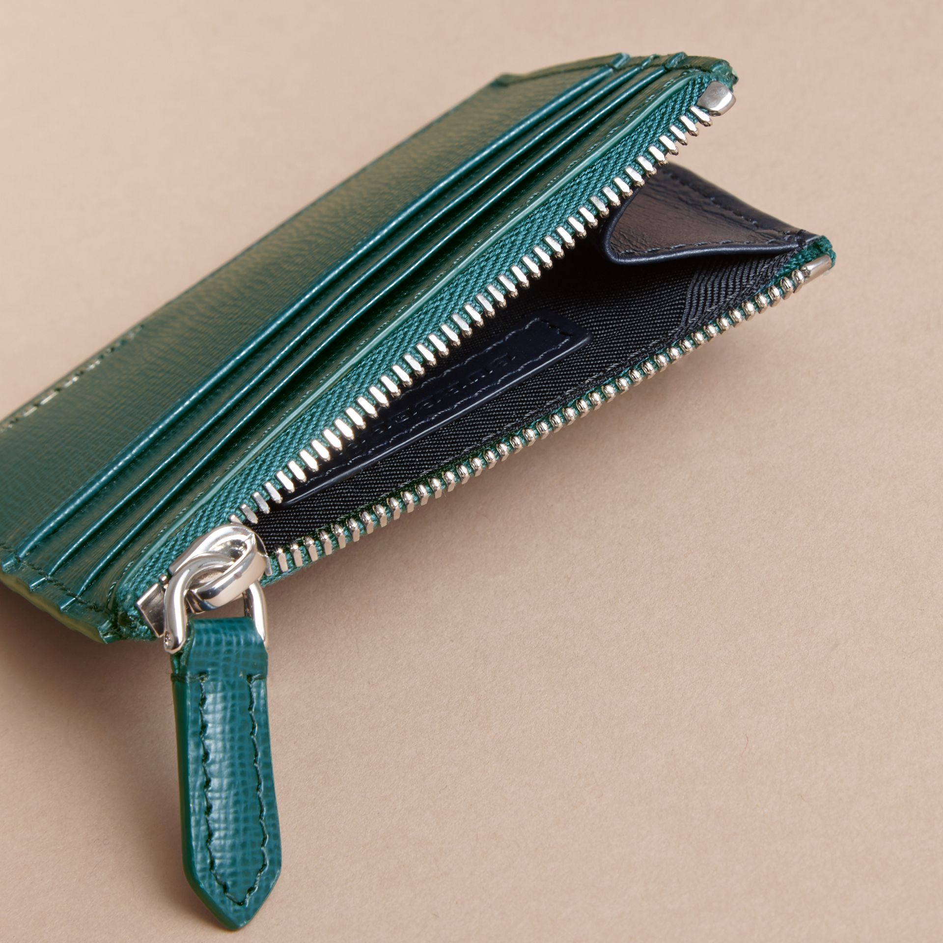 London Leather Zip-top Card Case in Dark Teal | Burberry - gallery image 4