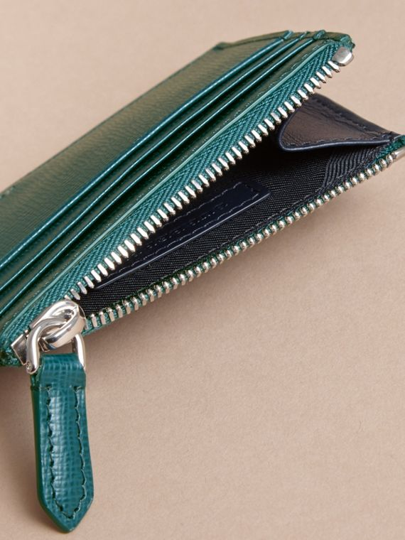 London Leather Zip-top Card Case in Dark Teal | Burberry - cell image 3