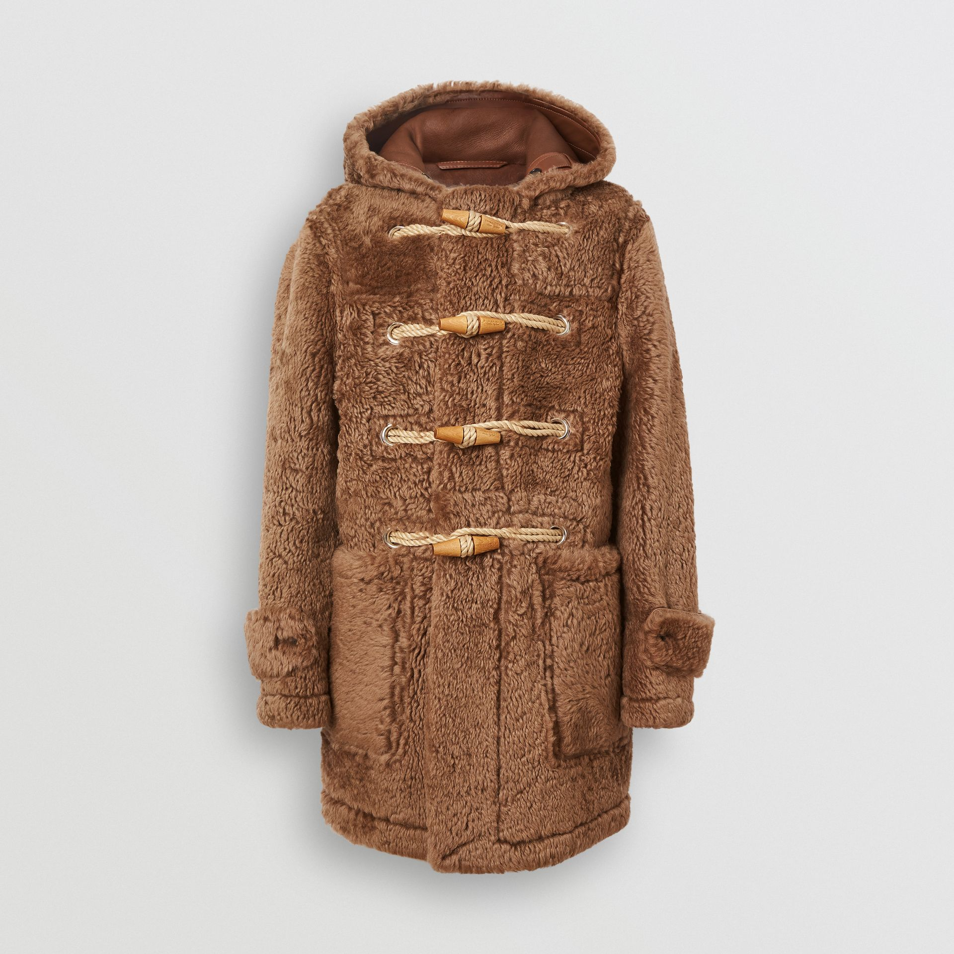 Shearling Duffle Coat in Taupe - Men | Burberry United Kingdom - gallery image 3
