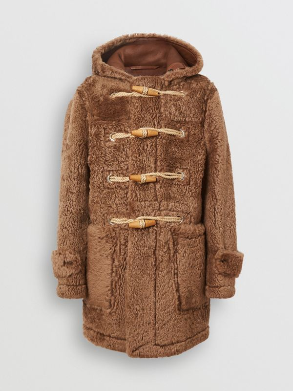 Shearling Duffle Coat in Taupe - Men | Burberry United Kingdom - cell image 3