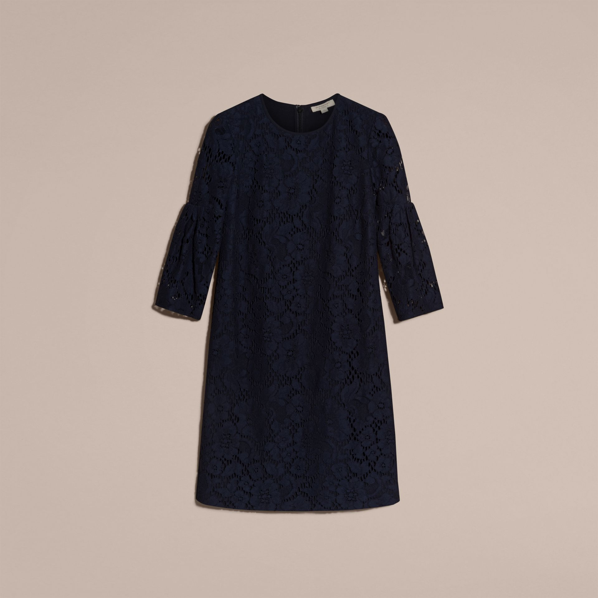 Navy Puff-sleeved Floral Lace Shift Dress - gallery image 4