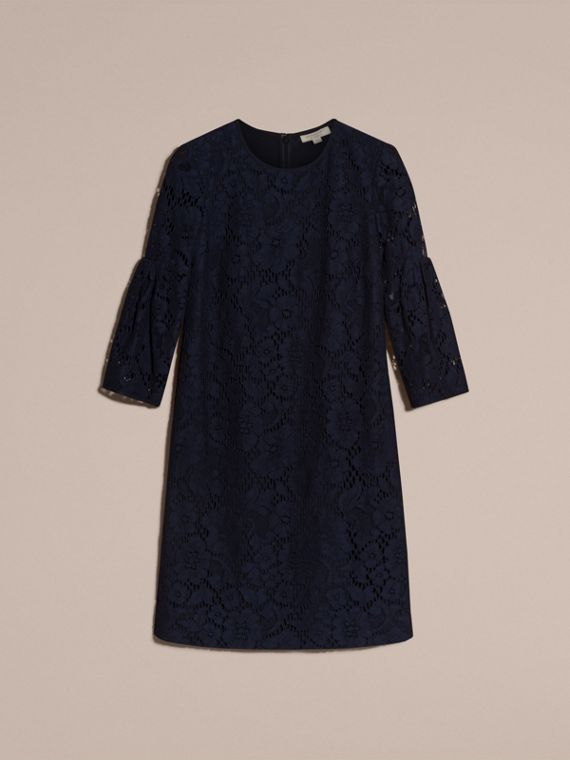 Navy Puff-sleeved Floral Lace Shift Dress - cell image 3