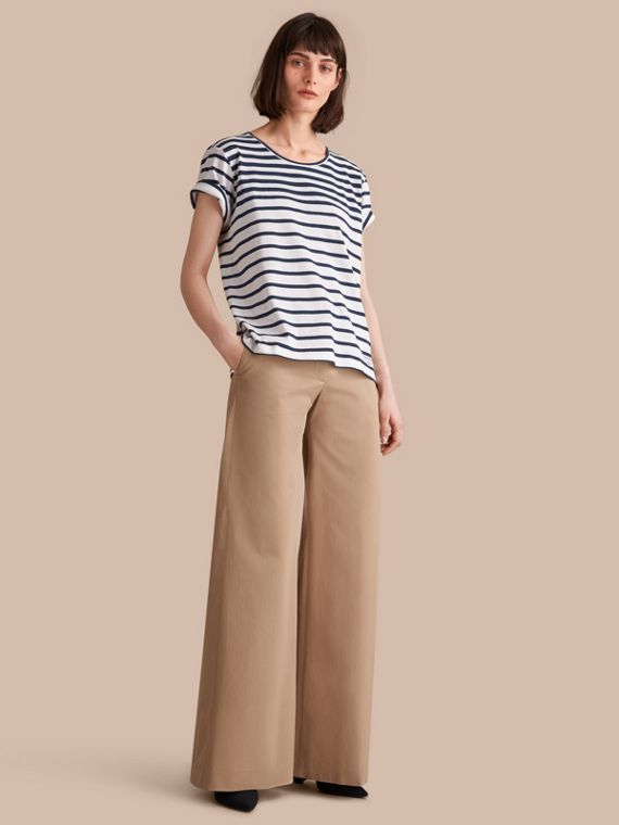Breton Stripe Cotton T-shirt in Navy/white - Women | Burberry