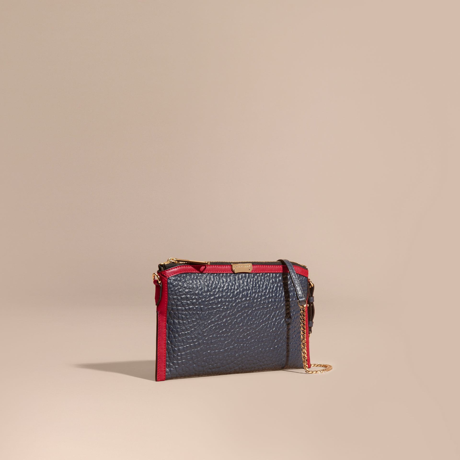 Blue crbn/parade red Contrast Border Signature Grain Leather Clutch Bag - gallery image 1