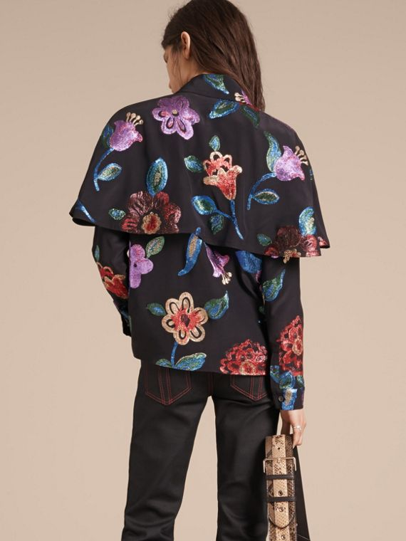 Navy Floral Fil Coupé Silk Blend Caped Shirt - cell image 2