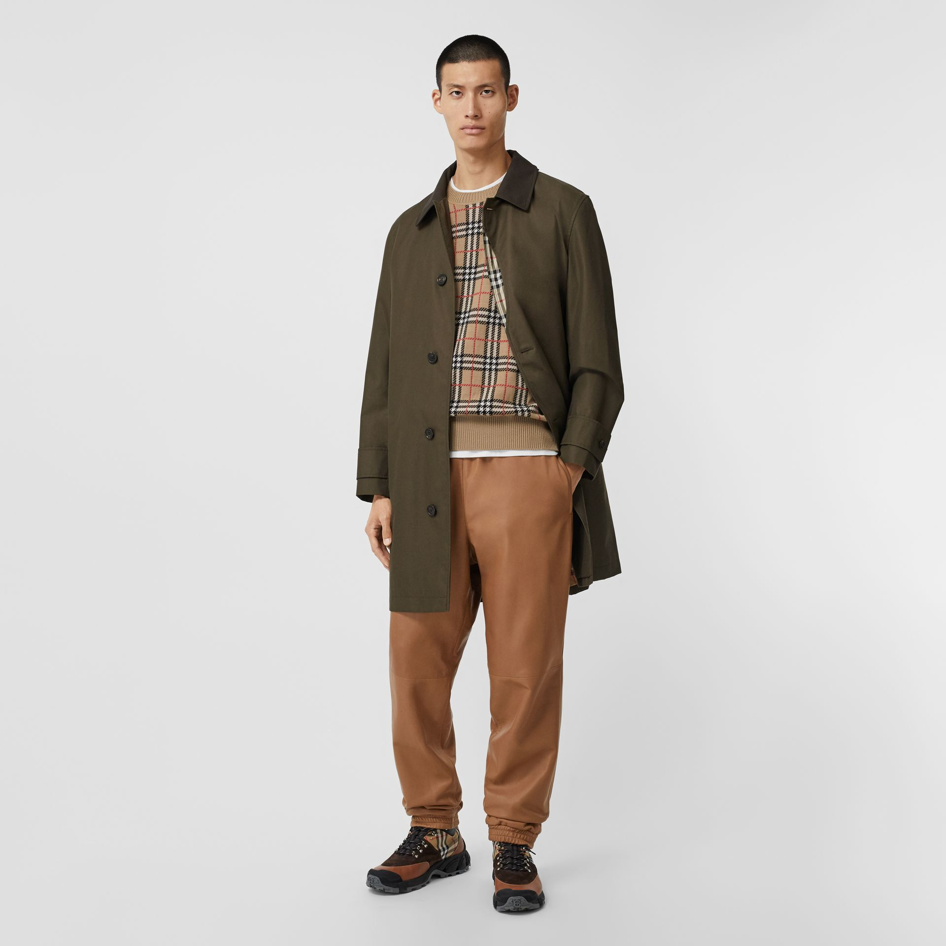 Vintage Check Detail Cotton Gabardine Car Coat in Dark Khaki Green - Men | Burberry - gallery image 0