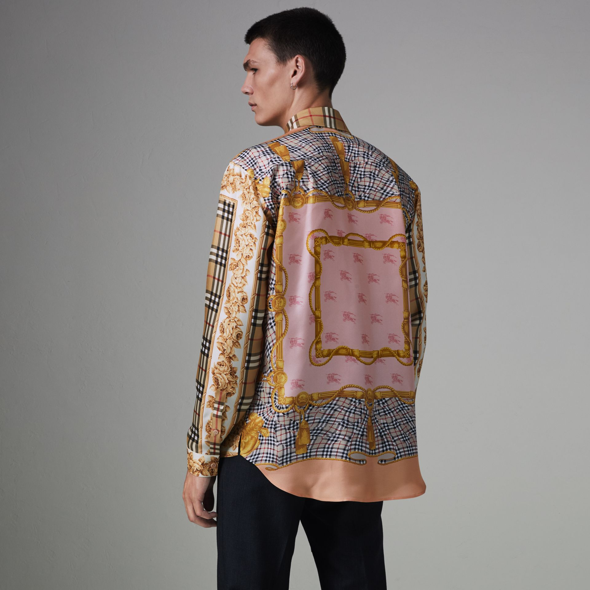 Archive Scarf Print Silk Shirt in Antique Yellow | Burberry United Kingdom - gallery image 2