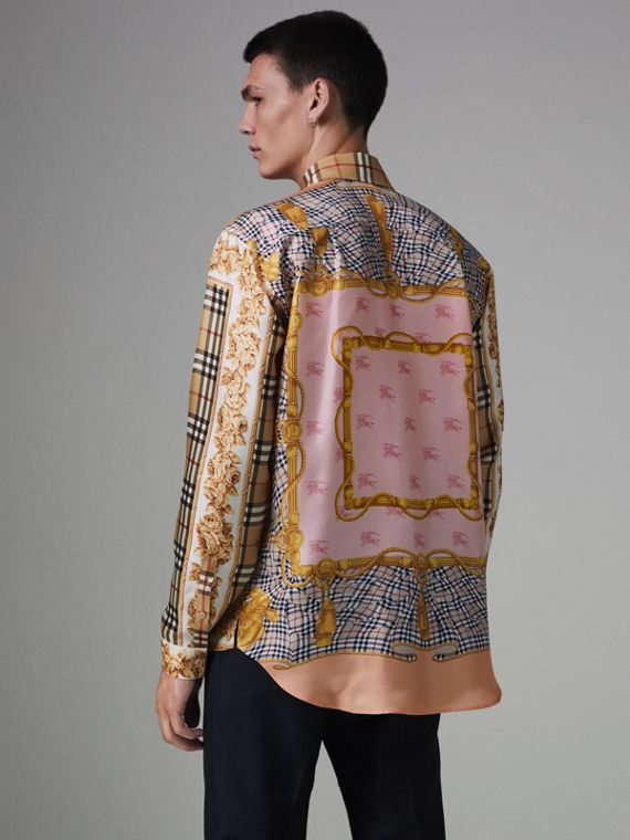 Seidenhemd mit Vintage-Aufdruck (Antikgelb)