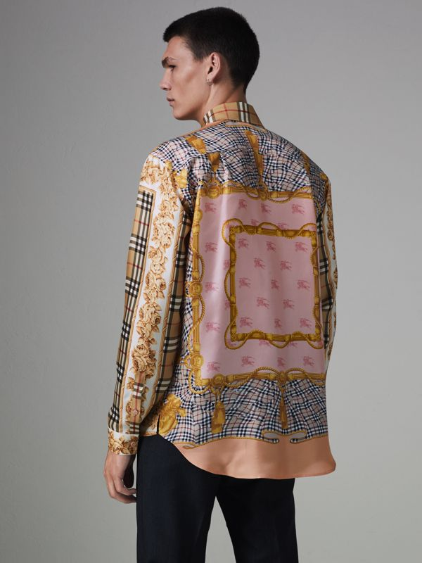 Archive Scarf Print Silk Shirt in Antique Yellow | Burberry Hong Kong - cell image 2