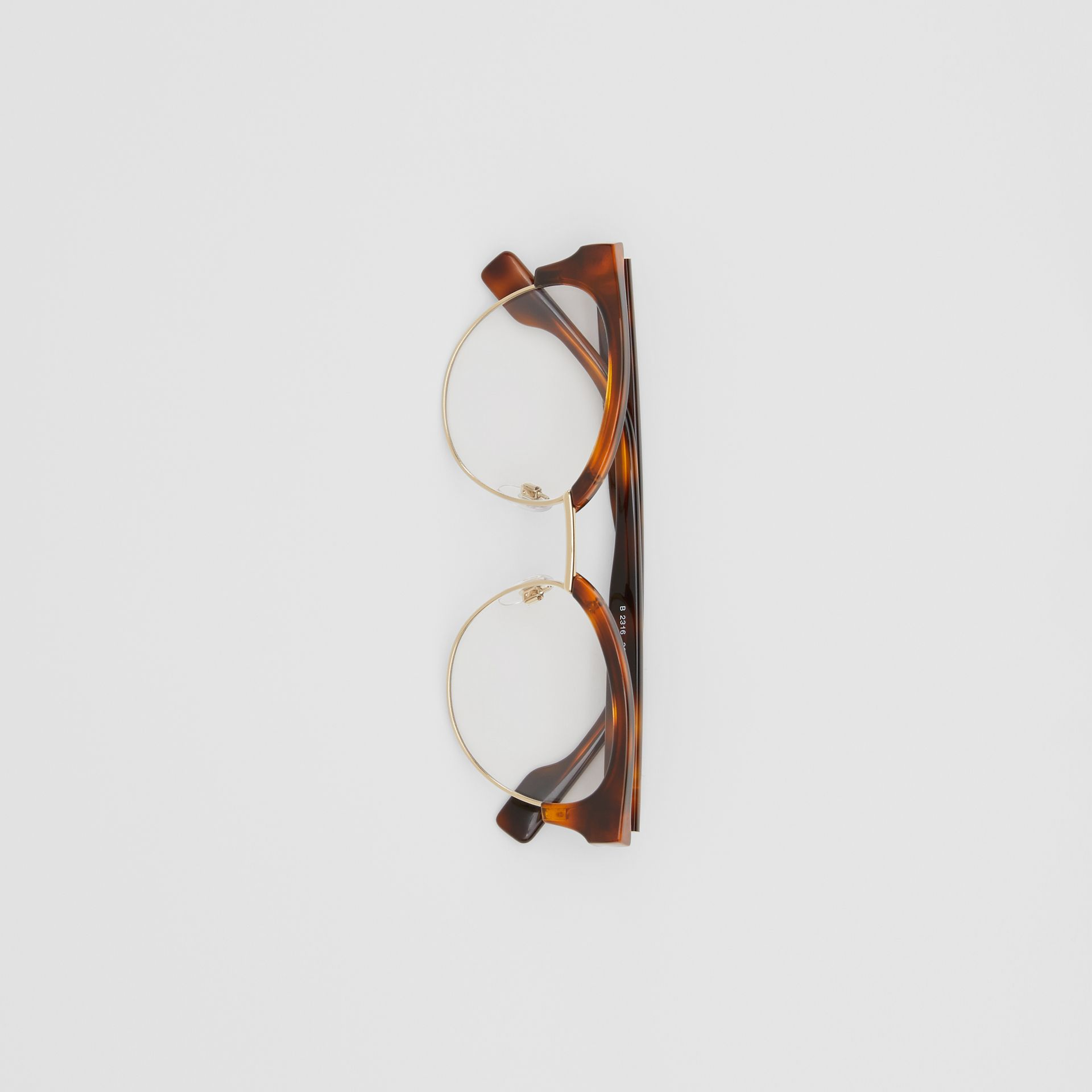 Óculos de grau com armação gatinho (Âmbar  Efeito Casco  Tartaruga) - Mulheres | Burberry - galeria de imagens 3
