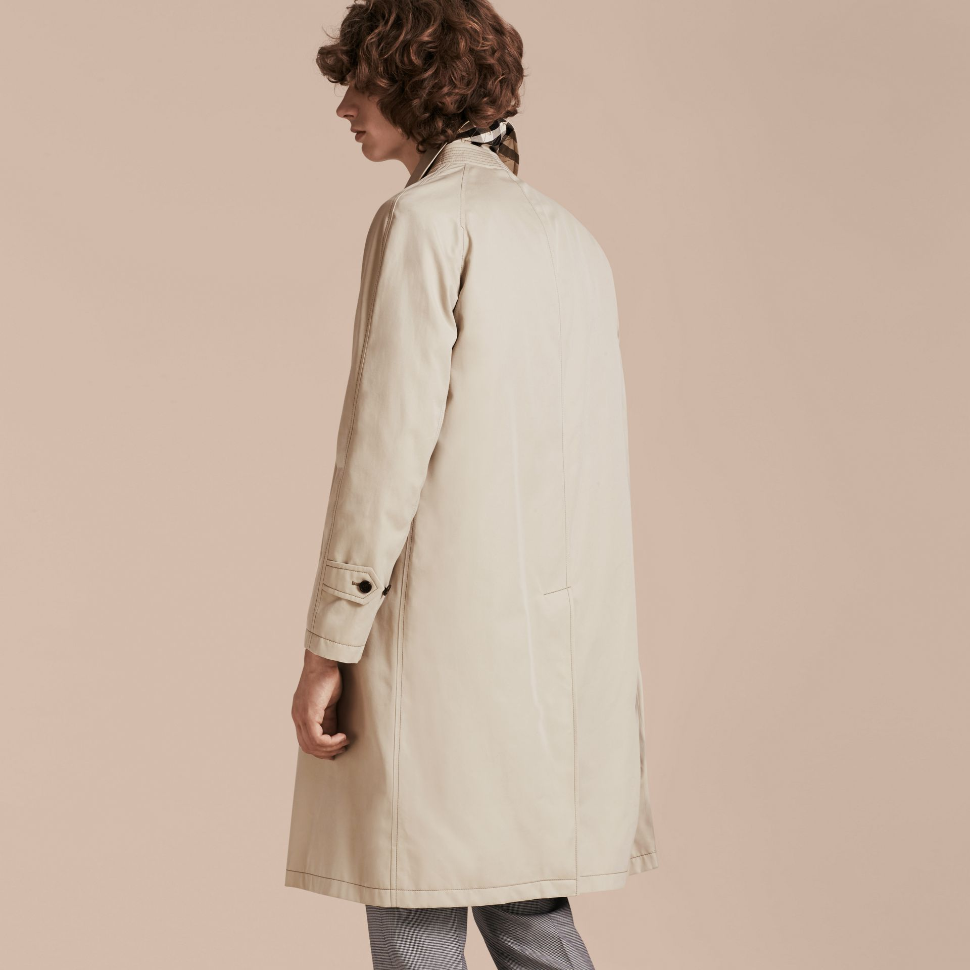 Stone Long Cotton Gabardine Car Coat - gallery image 3