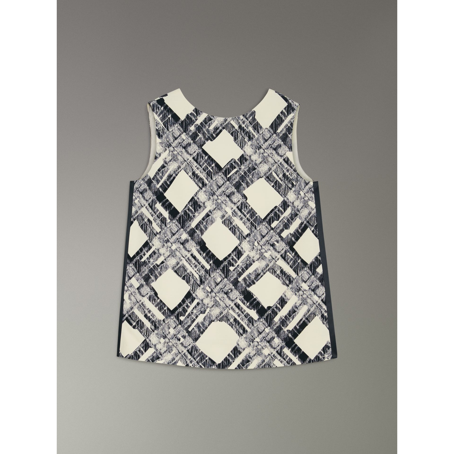 Sleeveless Check Print Wool Silk Top in Stone - Women | Burberry United States - gallery image 3