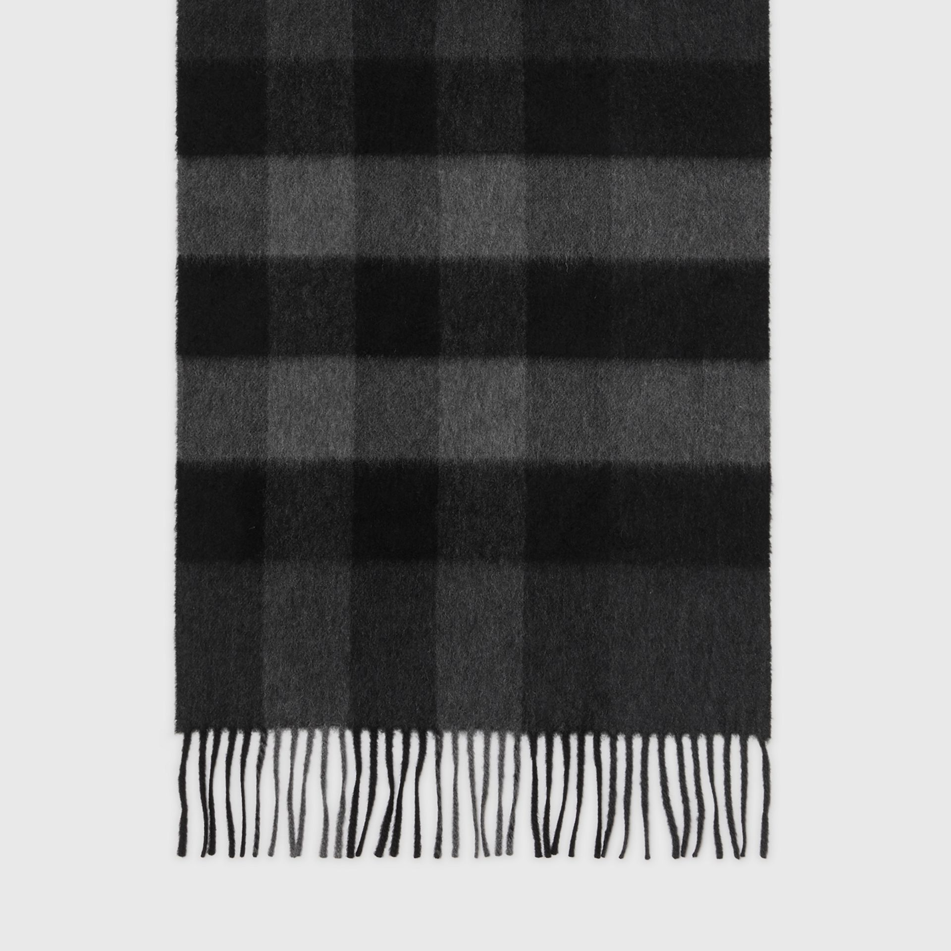 The Large Classic Cashmere Scarf in Check in Charcoal | Burberry Singapore - gallery image 4