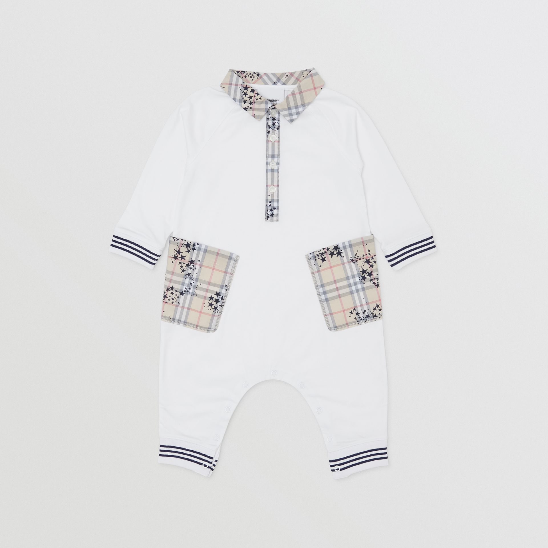 Star Print Check Trim Cotton Jumpsuit in White - Children | Burberry Australia - gallery image 0