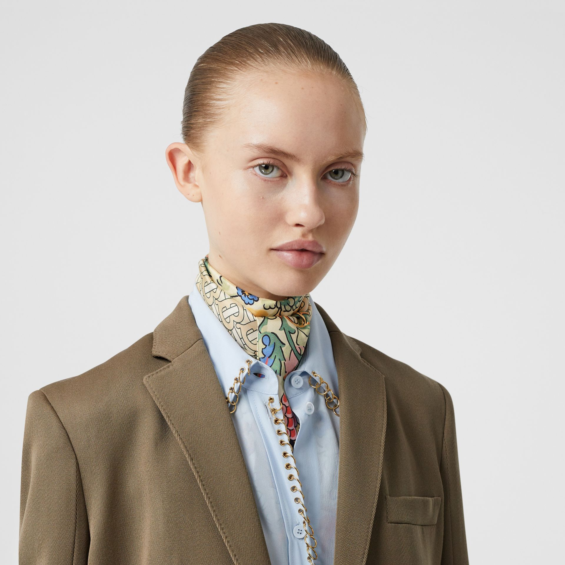 Floral and Monogram Print Silk Skinny Scarf in Sage Green | Burberry - gallery image 2