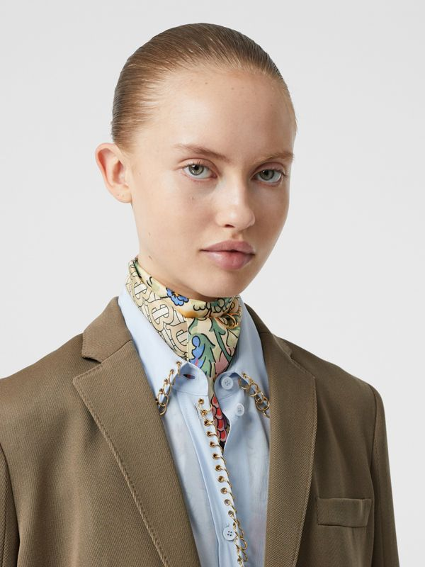 Floral and Monogram Print Silk Skinny Scarf in Sage Green | Burberry - cell image 2