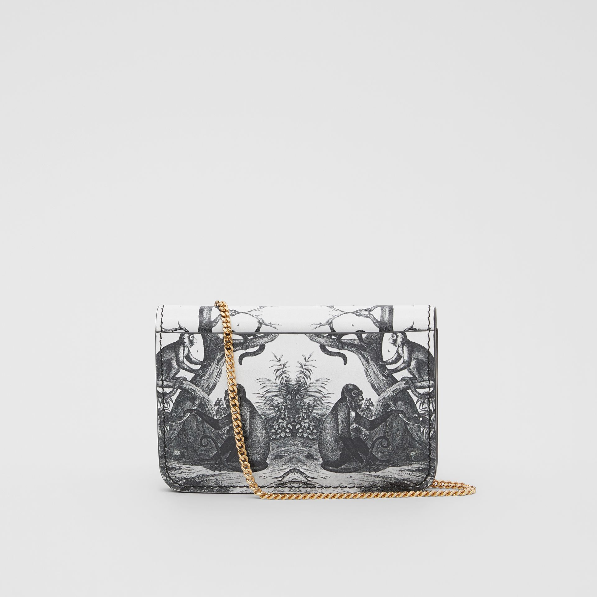 Monkey Print Leather Card Case with Chain Strap in Black/white | Burberry Australia - gallery image 9