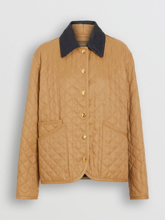 Diamond Quilted Barn Jacket in Camel