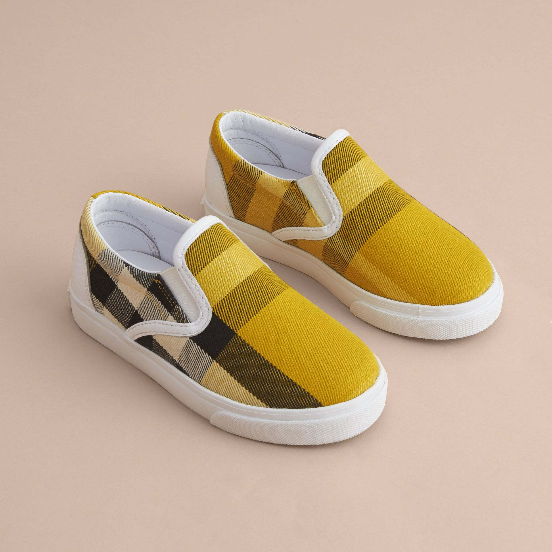 Tonal House Check and Leather Slip-on Trainers in Gorse Yellow | Burberry Canada - gallery image 3