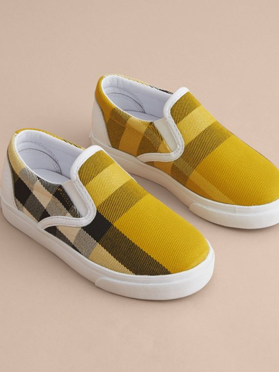 Tonal House Check and Leather Slip-on Trainers in Gorse Yellow | Burberry - cell image 2