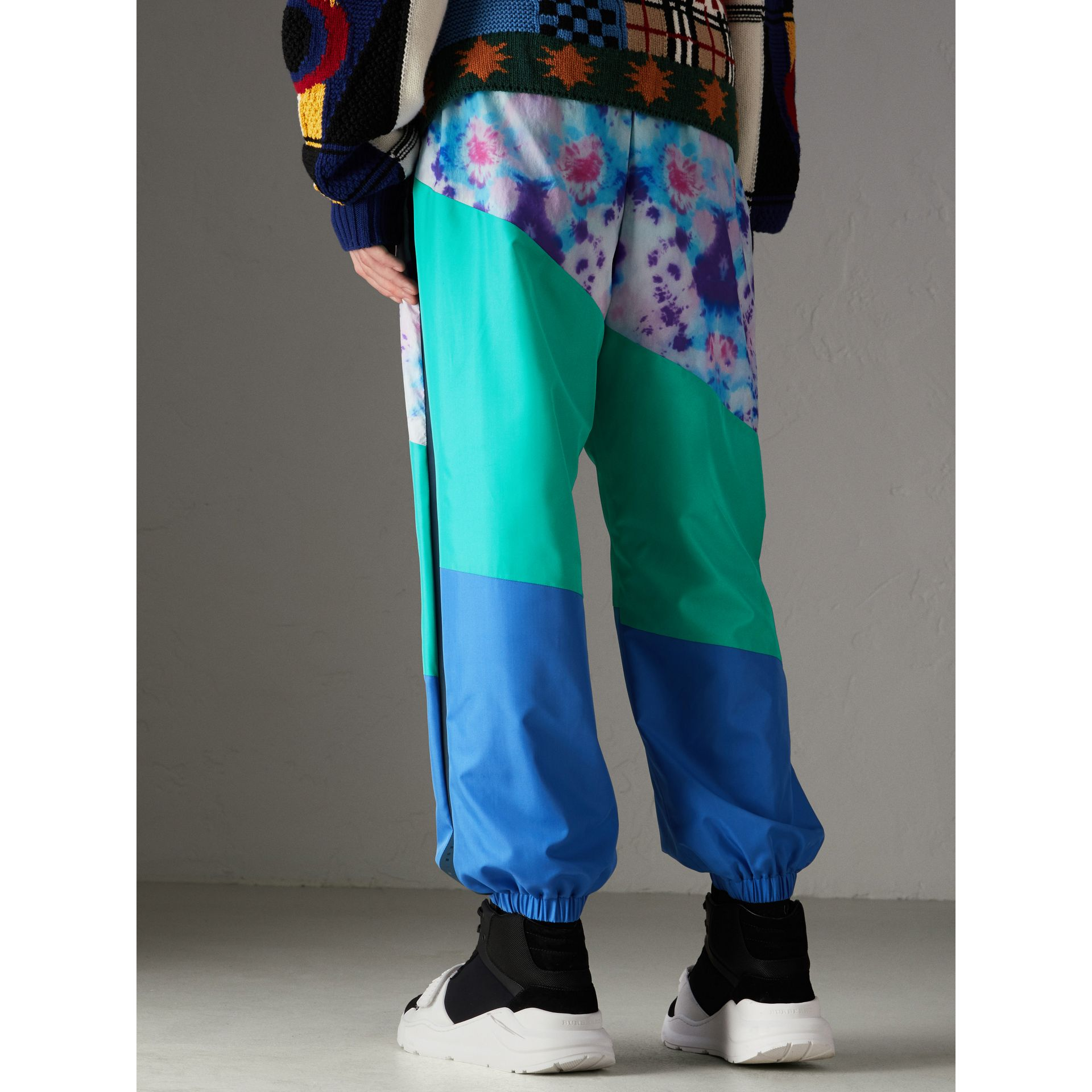 Tie-dye Silk Shell Suit Pants in Turquoise | Burberry - gallery image 2