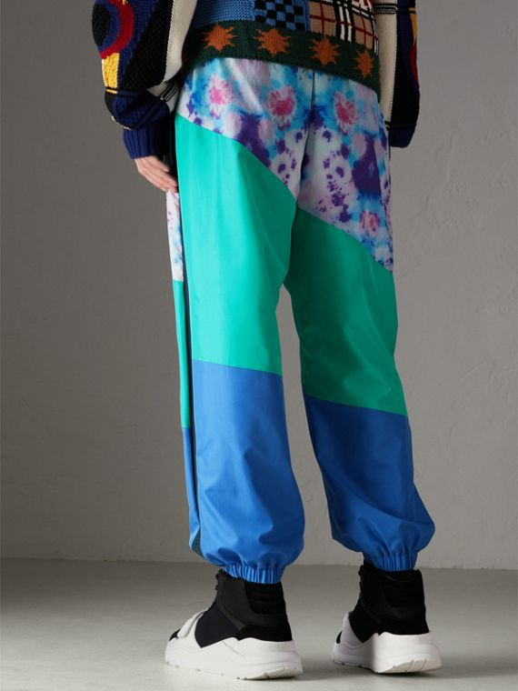 Tie-dye Silk Shell Suit Pants in Turquoise | Burberry - cell image 2