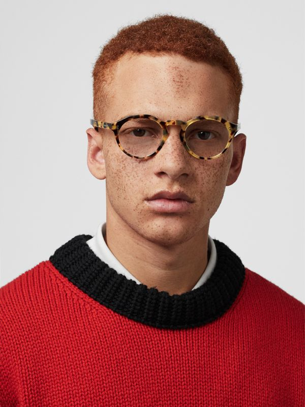 Keyhole Round Optical Frames in Tortoise Shell - Men | Burberry - cell image 2
