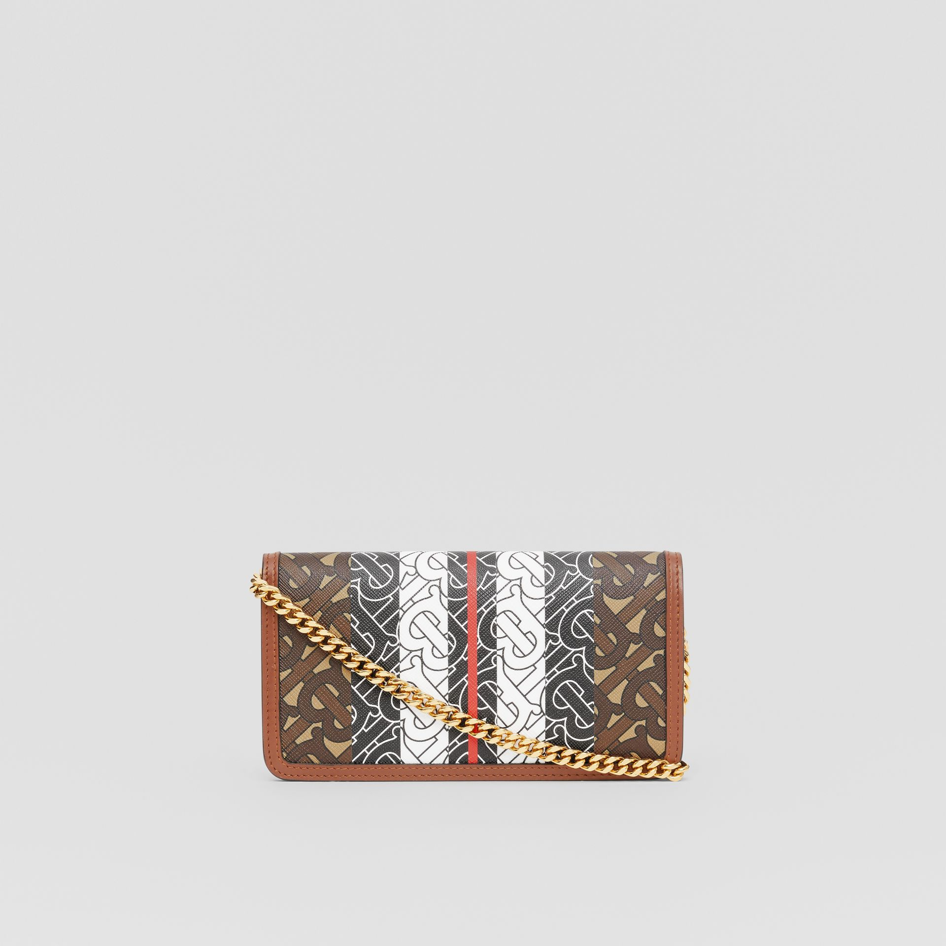Monogram Stripe E-canvas Phone Wallet with Strap in Bridle Brown - Women | Burberry - gallery image 5