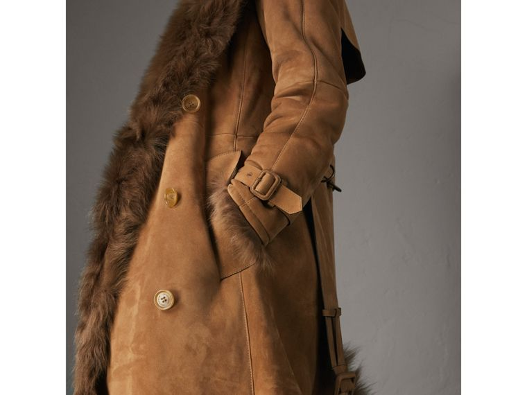 Shearling Trench Coat in Dark Camel - Women | Burberry - cell image 4