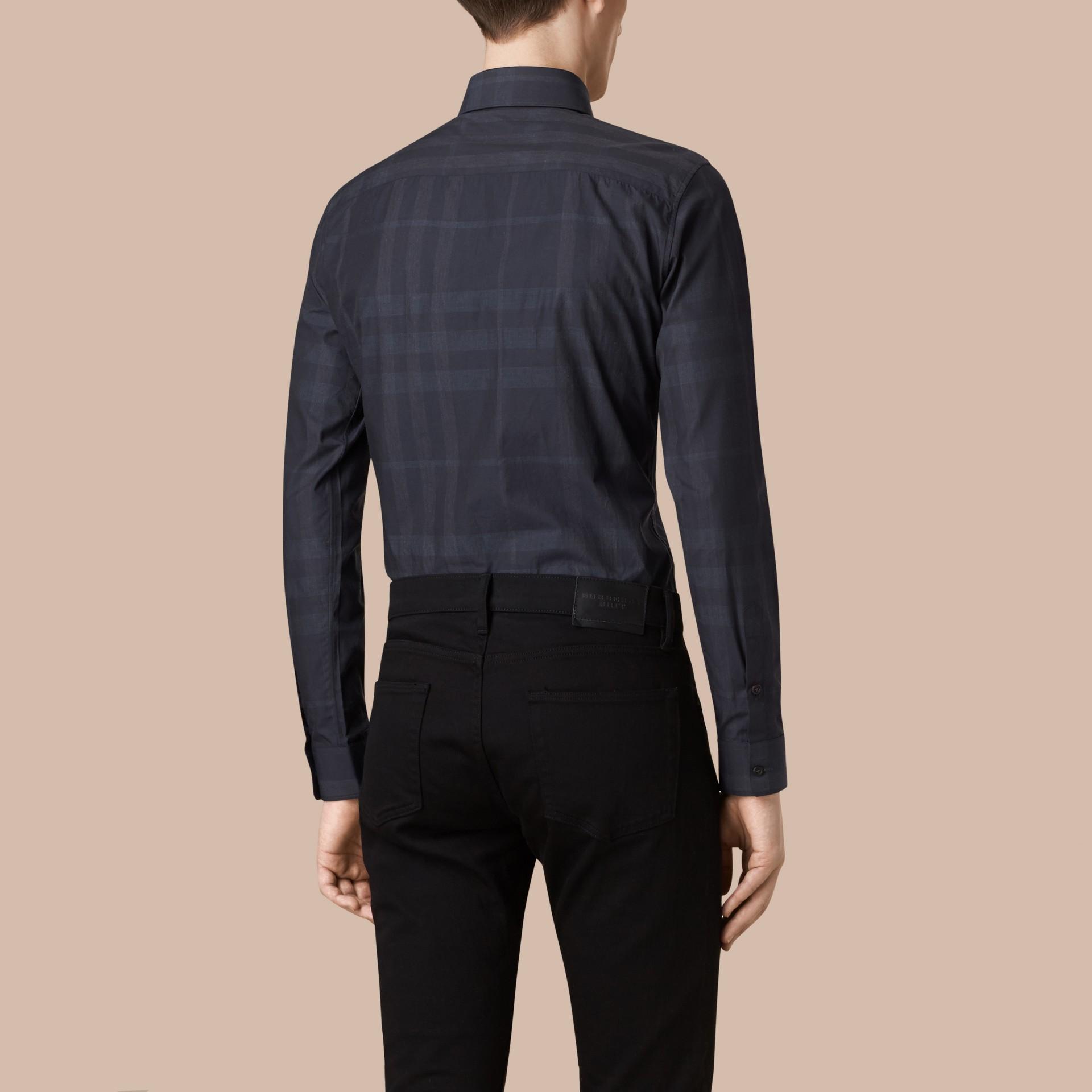 네이비 체크 코튼 셔츠 네이비 - 갤러리 이미지 3