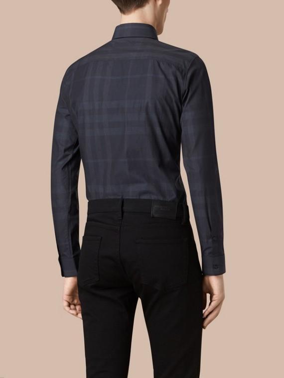 네이비 체크 코튼 셔츠 네이비 - cell image 2