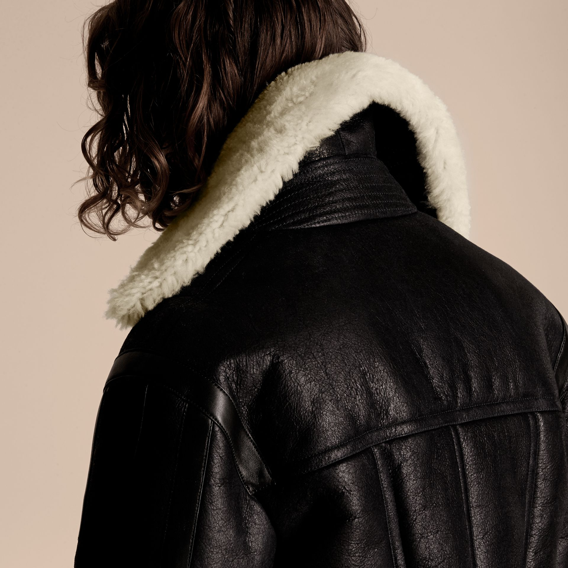 Black/natural Panelled Shearling Aviator Jacket - gallery image 7