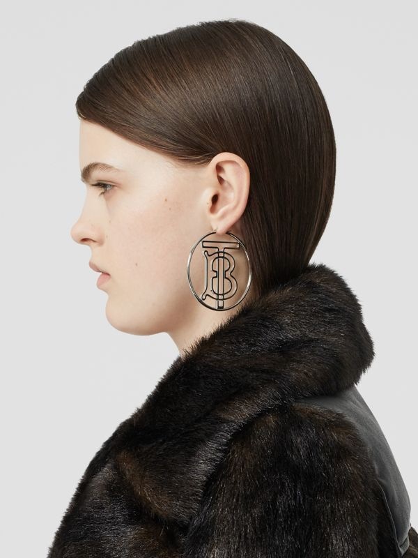 Palladium-plated Monogram Motif Hoop Earrings in Palladio - Women | Burberry Singapore - cell image 2