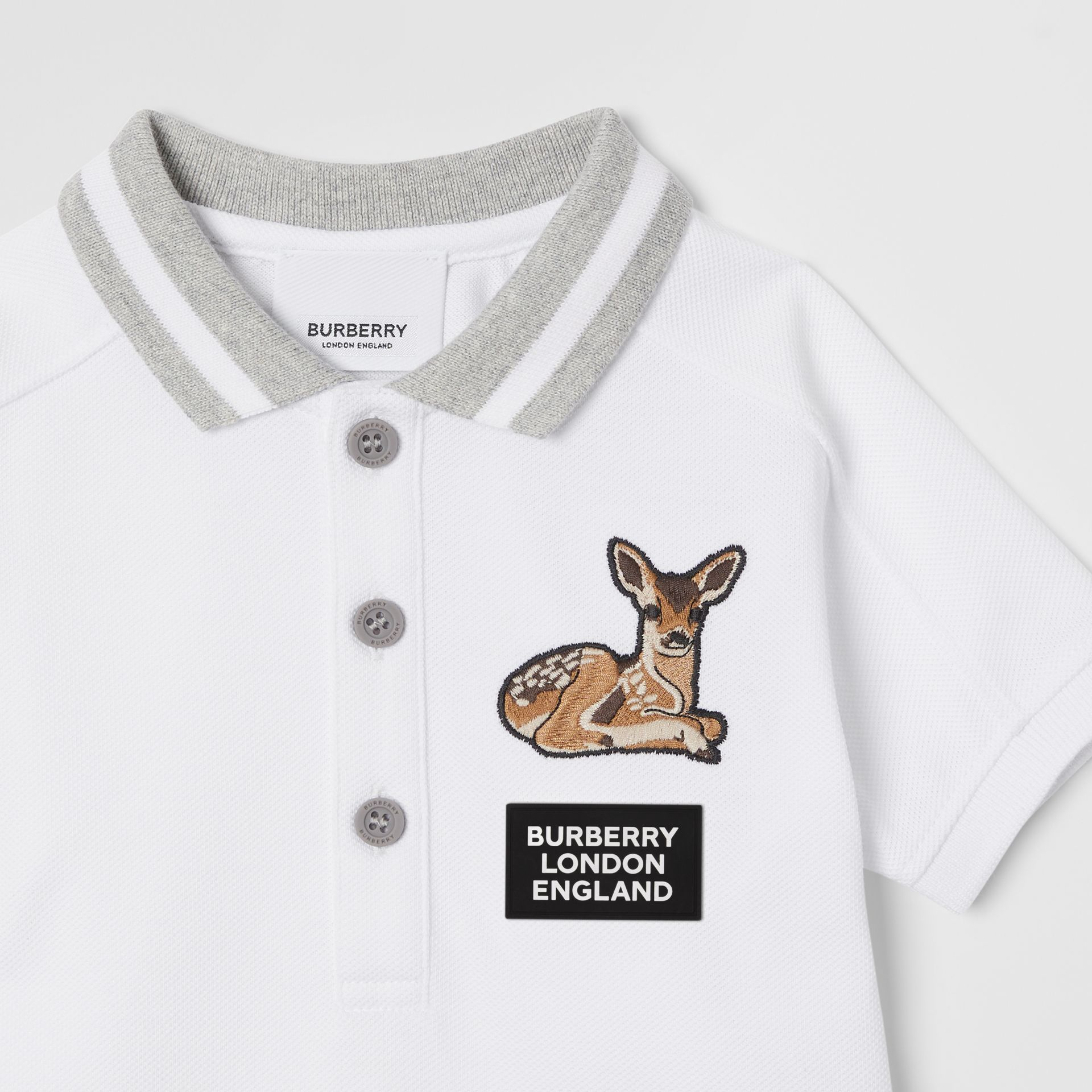 Deer Motif Cotton Polo Shirt in White - Children | Burberry Canada - gallery image 4
