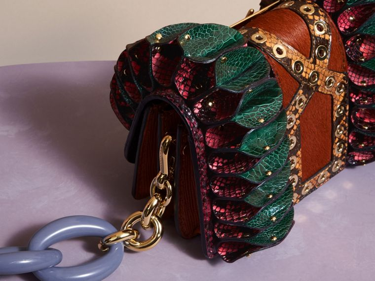 Garnet pink The Ruffle Buckle Bag in Snakeskin, Ostrich and Calfskin - cell image 4